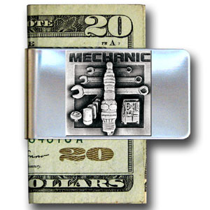 Large Money Clip - Mechanic - Our stainless steel money clips feature a 3D carved finely detailed square. Check out our entire line of  money clips!