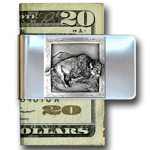 Large Money Clip - Buffalo - Our stainless steel money clips feature a 3D carved finely detailed square. Check out our entire line of  money clips!