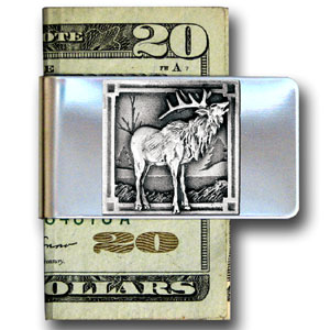 Large Money Clip - Elk - Our stainless steel money clips feature a 3D carved finely detailed square. Check out our entire line of  money clips!
