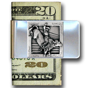 Large Money Clip - Bull Rider - Our stainless steel money clips feature a 3D carved finely detailed square. Check out our entire line of  money clips!