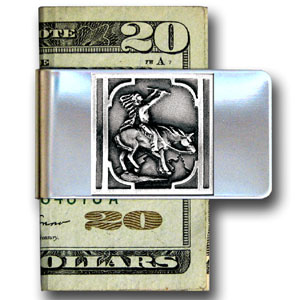 Large Money Clip - Indian - Our stainless steel money clips feature a 3D carved finely detailed square. Check out our entire line of  money clips!