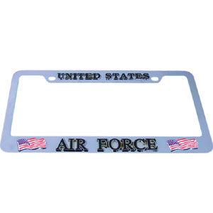 Air Force Tag Frame - Our armed forces license plate tag frames are made of durable zinc and are chrome plated. They feature finely carved 3D detail. Check out our extensive line of  automotive merchandise!