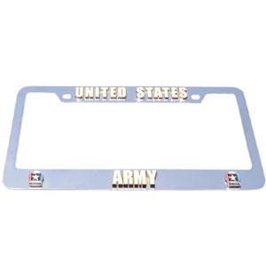 Army Tag Frame - Our armed forces license plate tag frames are made of durable zinc and are chrome plated. They feature finely carved 3D detail. Check out our extensive line of  automotive merchandise!
