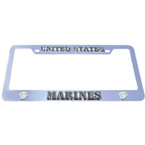 Marines Tag Frame - Our armed forces license plate tag frames are made of durable zinc and are chrome plated. They feature finely carved 3D detail. Check out our extensive line of  automotive merchandise!