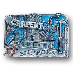 Belt Buckle - Carpenter - This finely sculpted and hand enameled belt buckle contains exceptional 3D detailing. Siskiyou's unique buckle designs often become collector's items and are unequaled with the best craftsmanship.