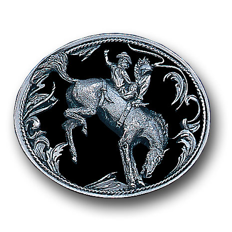 Belt Buckle - Bucking Bronco  (Diamond Cut) - This finely sculpted belt buckle contains exceptional 3D detailing and diamond cut accents. Siskiyou's unique buckle designs often become collector's items and are unequaled with the best craftsmanship.