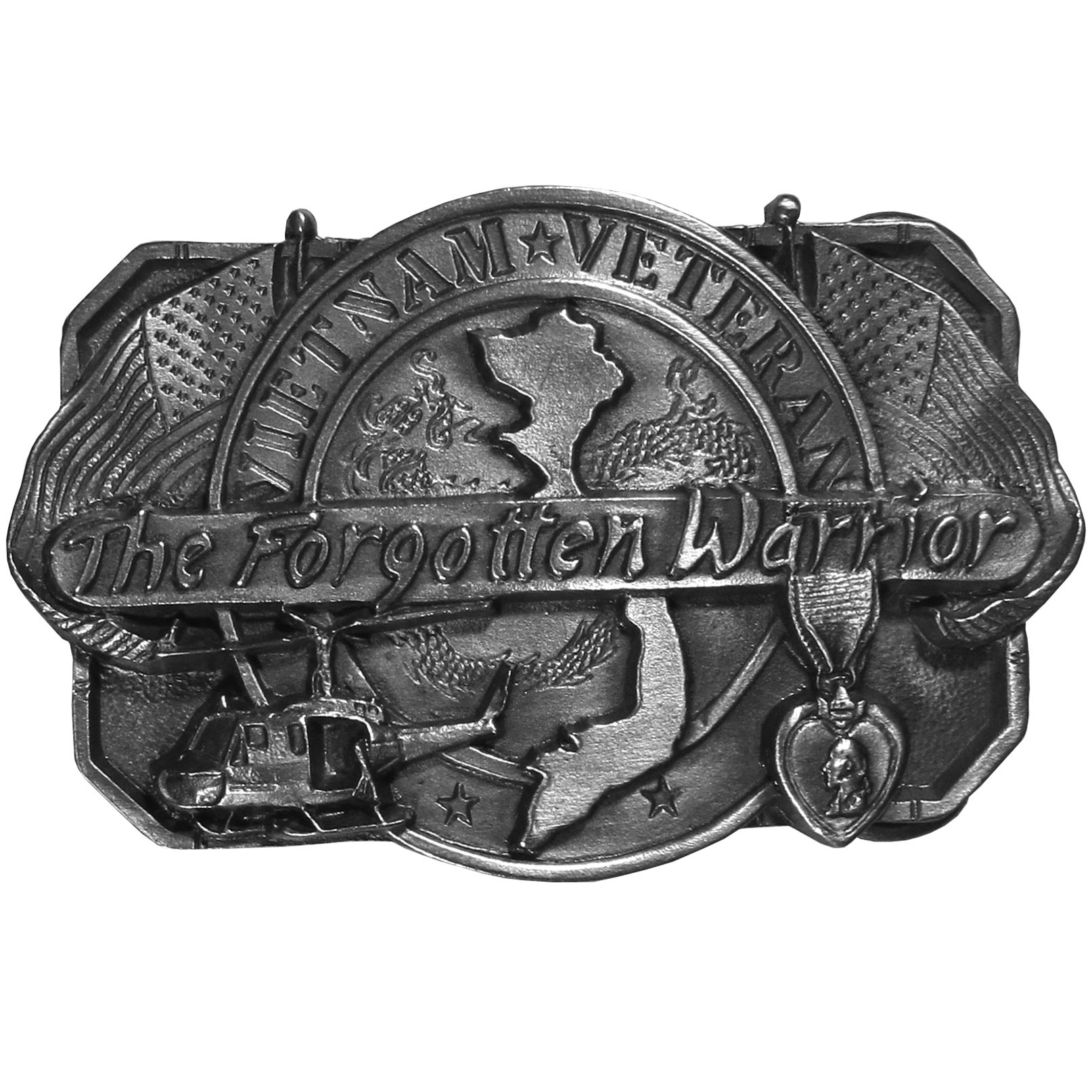 "Vietnam Veteran Antiqued Belt Buckle - ""This belt buckle is for the Vietnam Veteran.  In bold it says, """"Vietnam Veteran, the Forgotten Warrior"""".  There is the shape of Vietnam, a helicopter, two American flags and a medal of honor.  On the back are the words, """"This buckle is dedicated to the Vietnam Veterans and is in honor of those who gave their lives in America's longest and most controversial war.  Those who served in Vietnam came back to a divided country and became our """"Forgotten Warriors"""".  We are telling them now that we appreciate their sacrifices and that they are not forgotten."""""""
