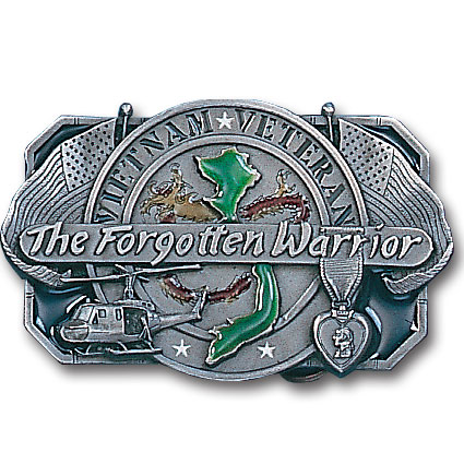 Belt Buckle - Forgotten Warrior  - This finely sculpted and hand enameled belt buckle contains exceptional 3D detailing. Siskiyou's unique buckle designs often become collector's items and are unequaled with the best craftsmanship.