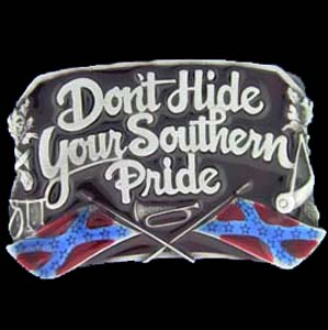 Belt Buckle - Southern Pride - This finely sculpted and hand enameled belt buckle contains exceptional 3D detailing. Siskiyou's unique buckle designs often become collector's items and are unequaled with the best craftsmanship.