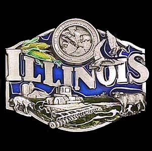Belt Buckle - Illinois Farm - This finely sculpted and hand enameled belt buckle contains exceptional 3D detailing. Siskiyou's unique buckle designs often become collector's items and are unequaled with the best craftsmanship.