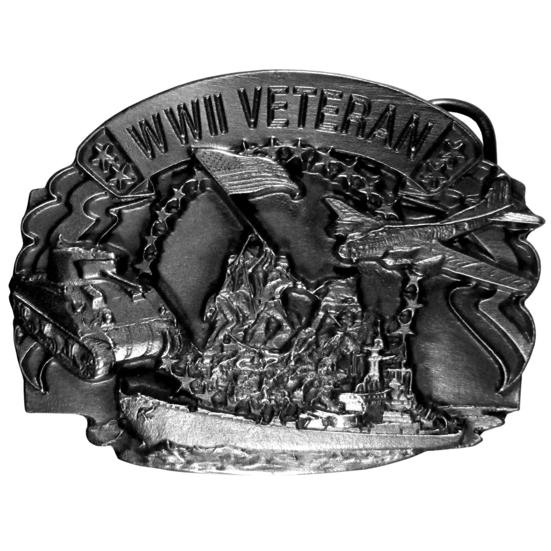 "World War II Veteran Antiqued Belt Buckle - ""For the World War II veterans, we've created a buckle to celebrate your patriotism.  The Words """"WWII Veteran"""" are on the top with a tank, ship and plane surrounding uniformed men raising the United States flag.  This exquistely carved buckle is made of fully cast metal with a standard bale that fits up to a 2"""" belt."""