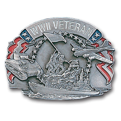 Belt Buckle - World War II Veteran - This finely sculpted and hand enameled belt buckle contains exceptional 3D detailing. Siskiyou's unique buckle designs often become collector's items and are unequaled with the best craftsmanship.
