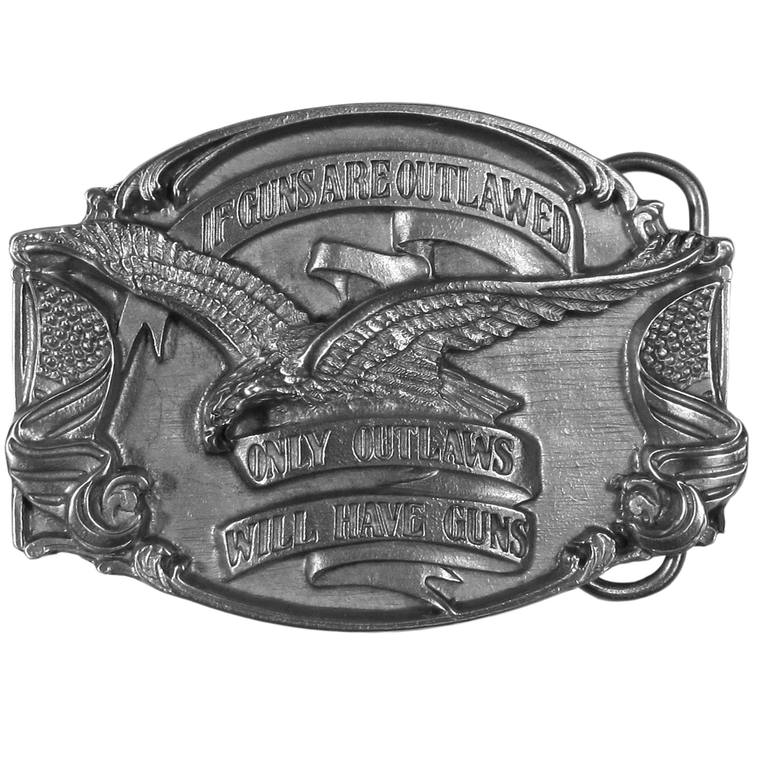 "If Guns are Outlawed... Antiqued Belt Buckle - ""This beautifully carved image has the words, """"If Guns Were Outlawed, Only Outlaws Would Have Guns"""".  The banner is surrounded by a united states flag on each side and an eagle on the top.  This antiqued buckle is made of fully cast metal with a standard bale that fits up to 2"""" belts."""