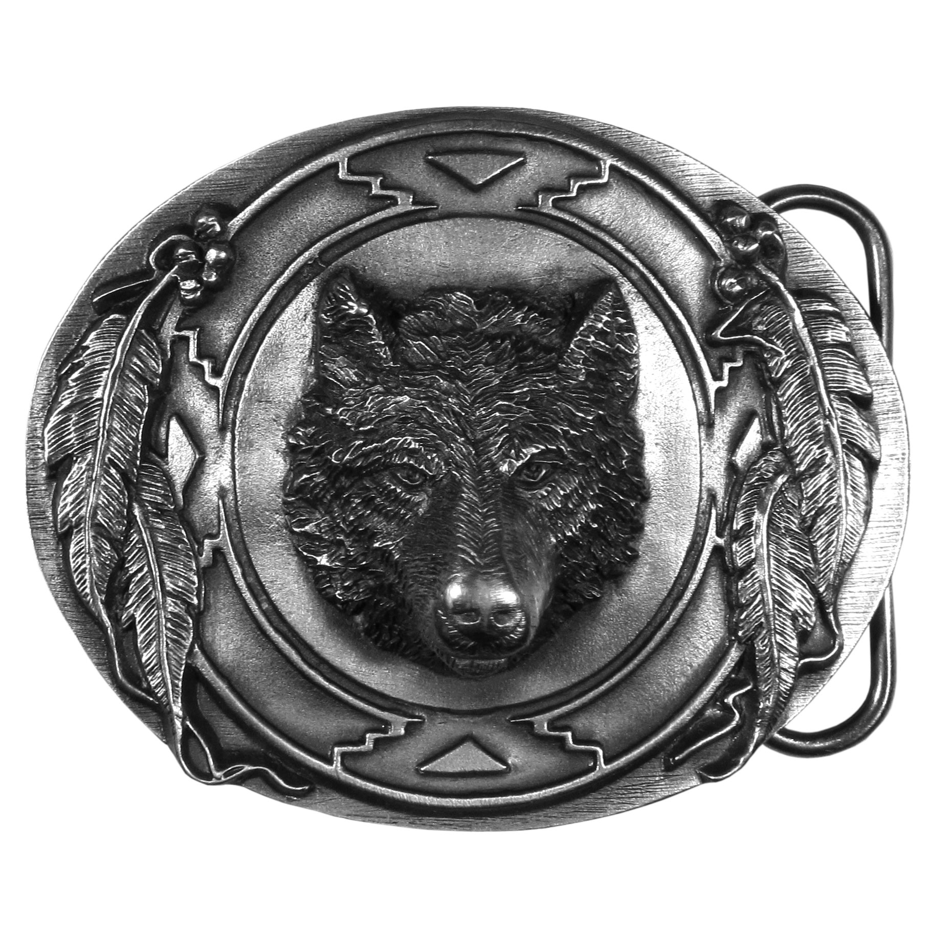 "Wolf Antiqued Belt Buckle - ""This beautiful oval buckle has a wolf head in the center.  It is surrounded by feathers and Native American designs.  This exquistely carved buckle is made of fully cast metal with a standard bale that fits up to 2"""" belts."""