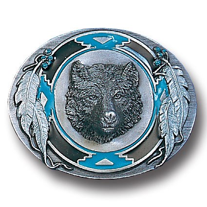 Belt Buckle -Wolf Head/Feathers