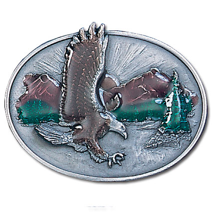 Belt Buckle - Eagle Over Mountains - This finely sculpted and hand enameled belt buckle contains exceptional 3D detailing. Siskiyou's unique buckle designs often become collector's items and are unequaled with the best craftsmanship.