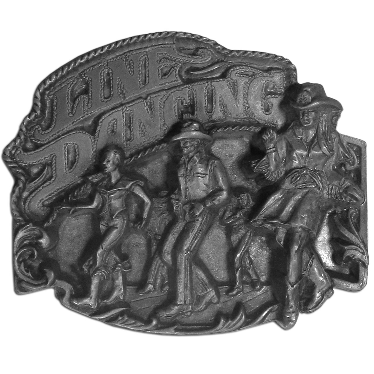 "Line Dancing Antiqued Belt Buckle - ""Do you love line dancing? This belt buckle's for you! """"Line Dancing"""" is written in bold with a rope around it and a group of people line dancing below. This exquisitely carved buckle is made of fully cast metal with a standard bale that fits up to 2"""" belts."""