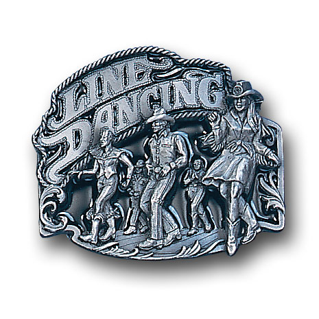 Belt Buckle - Line Dancing - This finely sculpted and hand enameled belt buckle contains exceptional 3D detailing. Siskiyou's unique buckle designs often become collector's items and are unequaled with the best craftsmanship.