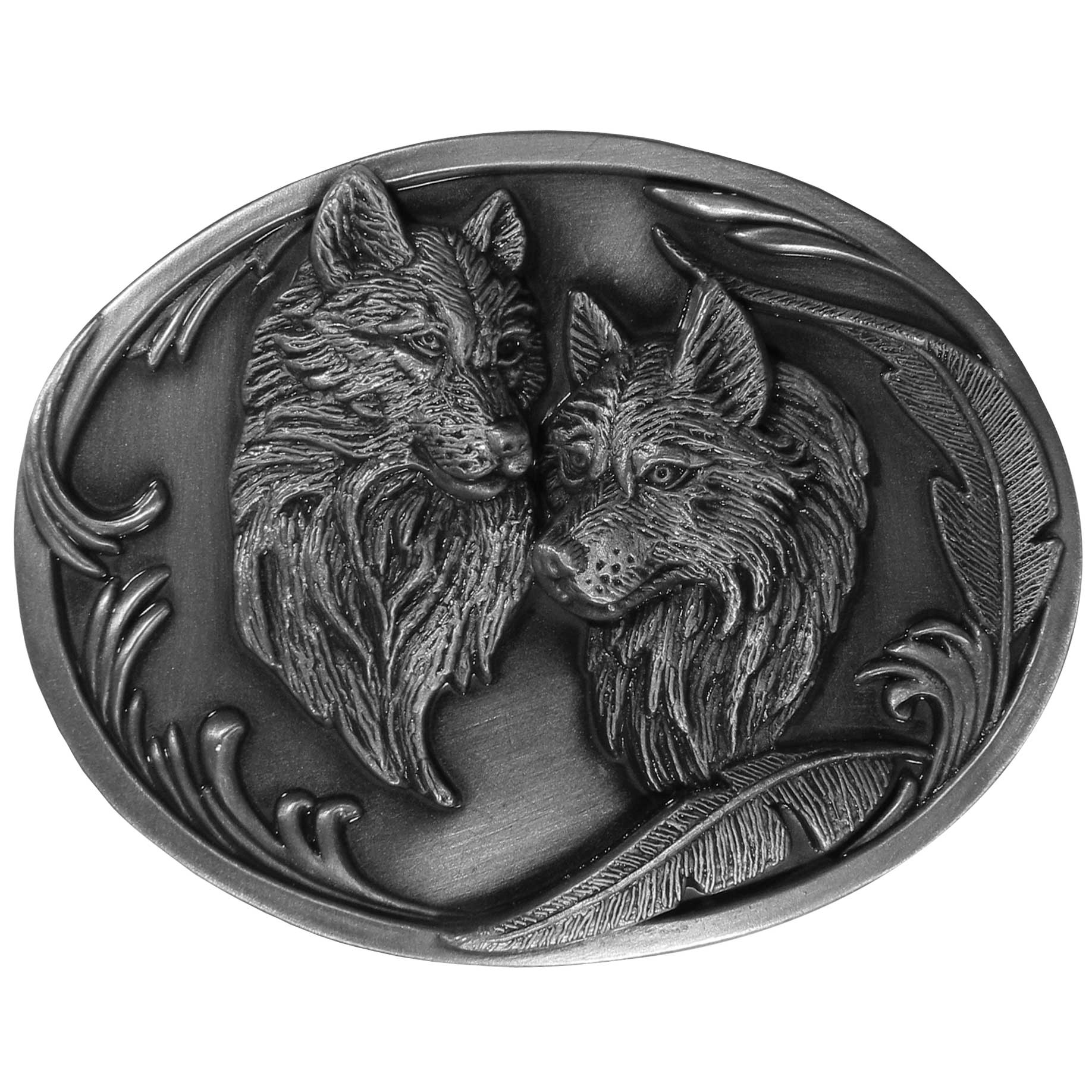 "Wolves Antiqued Belt Buckle - ""Two wolf heads are centered on this beautiful buckle with two feathers on the bottom right.  On the back are the words, """"Wolf...Teacher, Pathfinder, teach me to know.""""   This oval buckle is made of fully cast metal with a standard bale that fits up to 2"""" belts."""