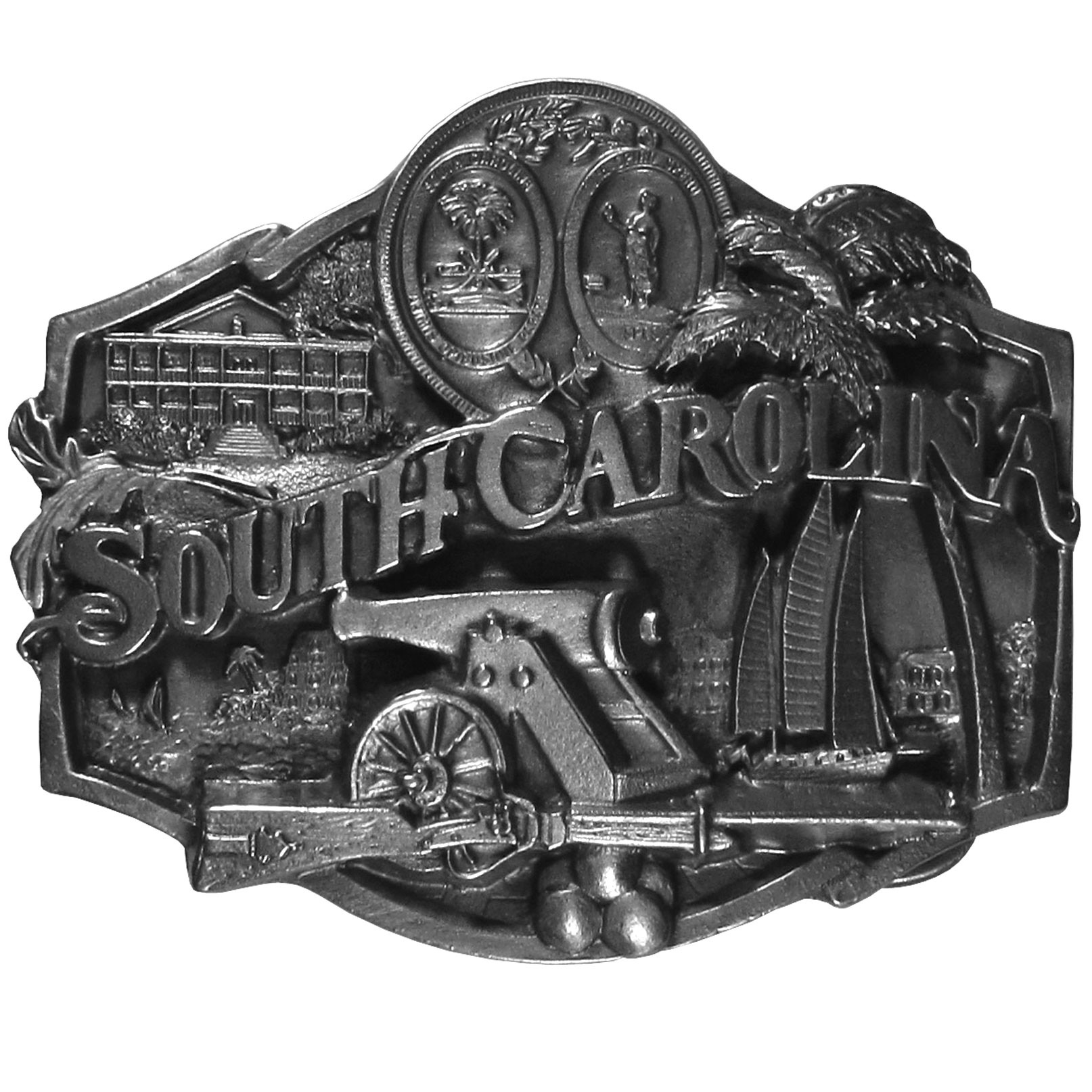 "S. Carolina Antiqued Belt Buckle - ""South Carolina"""" is centered on this beautiful buckle with symbols of the state surrounding, including the state tree, the sabal palmetto, a plantation house, musket, cannon and cannonballs and a sailing boat.  This exquisitely carved buckle is made of fully cast metal wth a standard bale that fits up to 2"""" belts."""