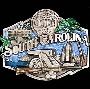 Belt Buckle - South Carolina  - This finely sculpted and hand enameled belt buckle contains exceptional 3D detailing. Siskiyou's unique buckle designs often become collector's items and are unequaled with the best craftsmanship.