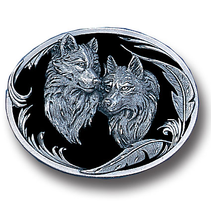 Belt Buckle - Two Wolves  - This finely sculpted and hand enameled belt buckle contains exceptional 3D detailing. Siskiyou's unique buckle designs often become collector's items and are unequaled with the best craftsmanship.