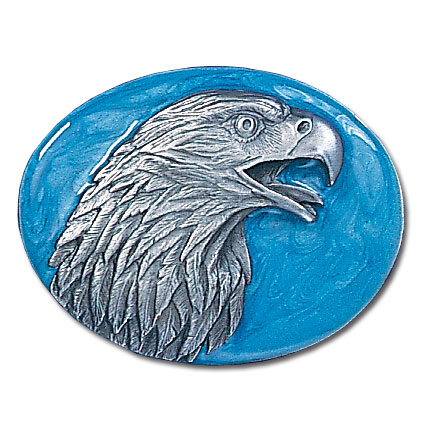 Belt Buckle - Eagle head Profile - This finely sculpted and hand enameled belt buckle contains exceptional 3D detailing. Siskiyou's unique buckle designs often become collector's items and are unequaled with the best craftsmanship.