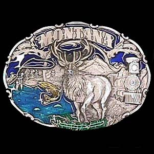 Belt Buckle - Montana Elk - This finely sculpted and hand enameled belt buckle contains exceptional 3D detailing. Siskiyou's unique buckle designs often become collector's items and are unequaled with the best craftsmanship.