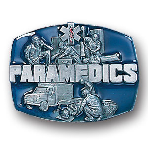 Belt Buckle - Paramedics - This finely sculpted and hand enameled belt buckle contains exceptional 3D detailing. Siskiyou's unique buckle designs often become collector's items and are unequaled with the best craftsmanship.