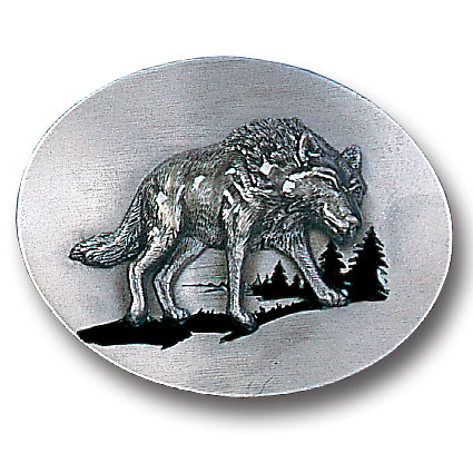 Belt Buckle - Wolf Silhouette - This finely sculpted and hand enameled belt buckle contains exceptional 3D detailing. Siskiyou's unique buckle designs often become collector's items and are unequaled with the best craftsmanship.