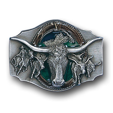 Belt Buckle - Steer head  - This finely sculpted and hand enameled belt buckle contains exceptional 3D detailing. Siskiyou's unique buckle designs often become collector's items and are unequaled with the best craftsmanship.