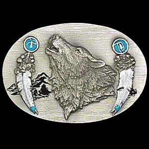 Belt Buckle - Howling Wolf with Feathers - This finely sculpted and hand enameled belt buckle contains exceptional 3D detailing. Siskiyou's unique buckle designs often become collector's items and are unequaled with the best craftsmanship.