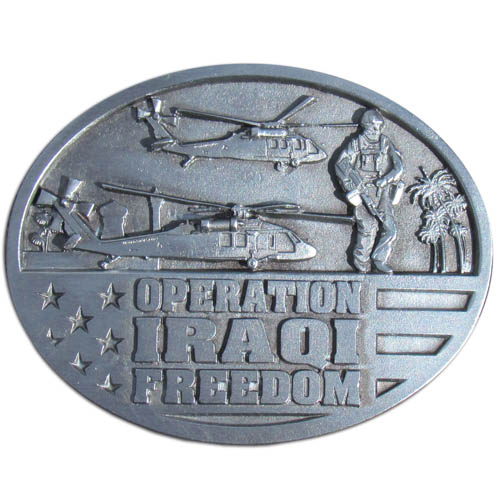 Iraqi Freedom Buckle - This finely sculpted belt buckle contains exceptional 3D detailing. Siskiyou's unique buckle designs often become collector's items and are unequaled with the best craftsmanship. Made in the USA.