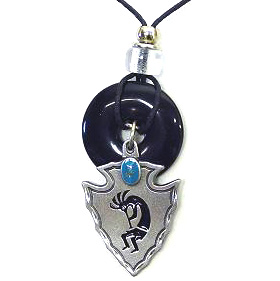 "Onyx and Diamond Cut Necklace - Kokopelli - Onyx colored circle with diamond cut pendant on a 24"" adjustable leather cord. Check out our entire line of  jewelry."