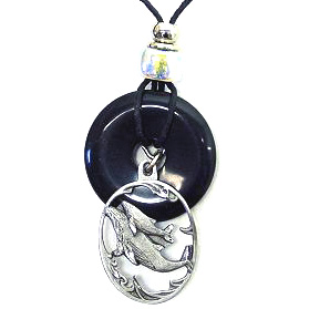 "Onyx and Diamond Cut Necklace - Whales - Onyx colored circle with diamond cut pendant on a 24"" adjustable leather cord. Check out our entire line of  jewelry."