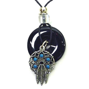 "Onyx and Diamond Cut Necklace -  Dream Catcher - Onyx colored circle with diamond cut pendant on a 24"" adjustable leather cord. Check out our entire line of  jewelry."