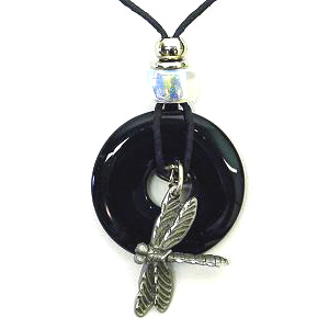 "Onyx Circle and Dragonfly Pendant - Onyx colored circle with diamond cut pendant on a 24"" adjustable leather cord. Check out our entire line of  jewelry."