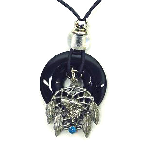 "Onyx and Diamond Cut Necklace -  Wolf Dream Catcher - Onyx colored circle with diamond cut pendant on a 24"" adjustable leather cord. Check out our entire line of  jewelry."