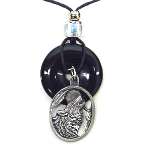 "Onyx and Diamond Cut Necklace - Wolf - Onyx colored circle with diamond cut pendant on a 24"" adjustable leather cord. Check out our entire line of  jewelry."
