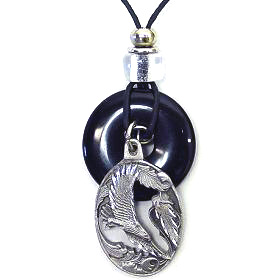 "Onyx and Diamond Cut Necklace - Eagle - Onyx colored circle with diamond cut pendant on a 24"" adjustable leather cord. Check out our entire line of  jewelry."