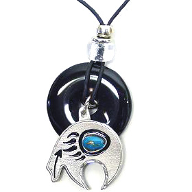 "Onyx and Diamond Cut Necklace - Bear Fetish - Onyx colored circle with diamond cut pendant on a 24"" adjustable leather cord. Check out our entire line of  jewelry."