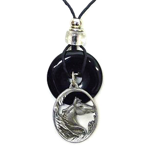 "Onyx and Diamond Cut Necklace - Horse  - Onyx colored circle with diamond cut pendant on a 24"" adjustable leather cord. Check out our entire line of  jewelry."