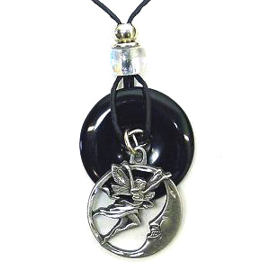 "Onyx and Diamond Cut Necklace - Fairy and Moon - Onyx colored circle with diamond cut pendant on a 24"" adjustable leather cord. Check out our entire line of  jewelry."