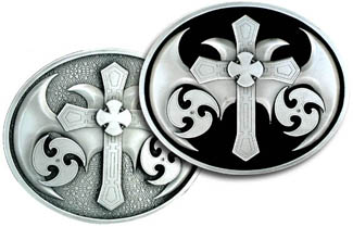 "Oversized Belt Buckle - Cross with Blades - Our artisans have intricately cut this detailed gothic design. 4"" w x 3 1/2"" h."