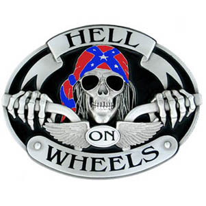 "Oversized Belt Buckle - Hell on Wheels - Our largest biker buckle is bold enough to match the biker mystique. Sculpted and enameled. 5 1/2 ""w x 4 3/16"" h. Sold in color only."
