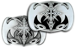 "Oversized Belt Buckle - Cross with Wings - Fine details are well emphasized in this distinctive oversized buckle. 5 1/2""w x 3 5/8 h."