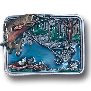 Belt Buckle - Fishing in River - This finely sculpted and hand enameled belt buckle contains exceptional 3D detailing. Siskiyou's unique buckle designs often become collector's items and are unequaled with the best craftsmanship.