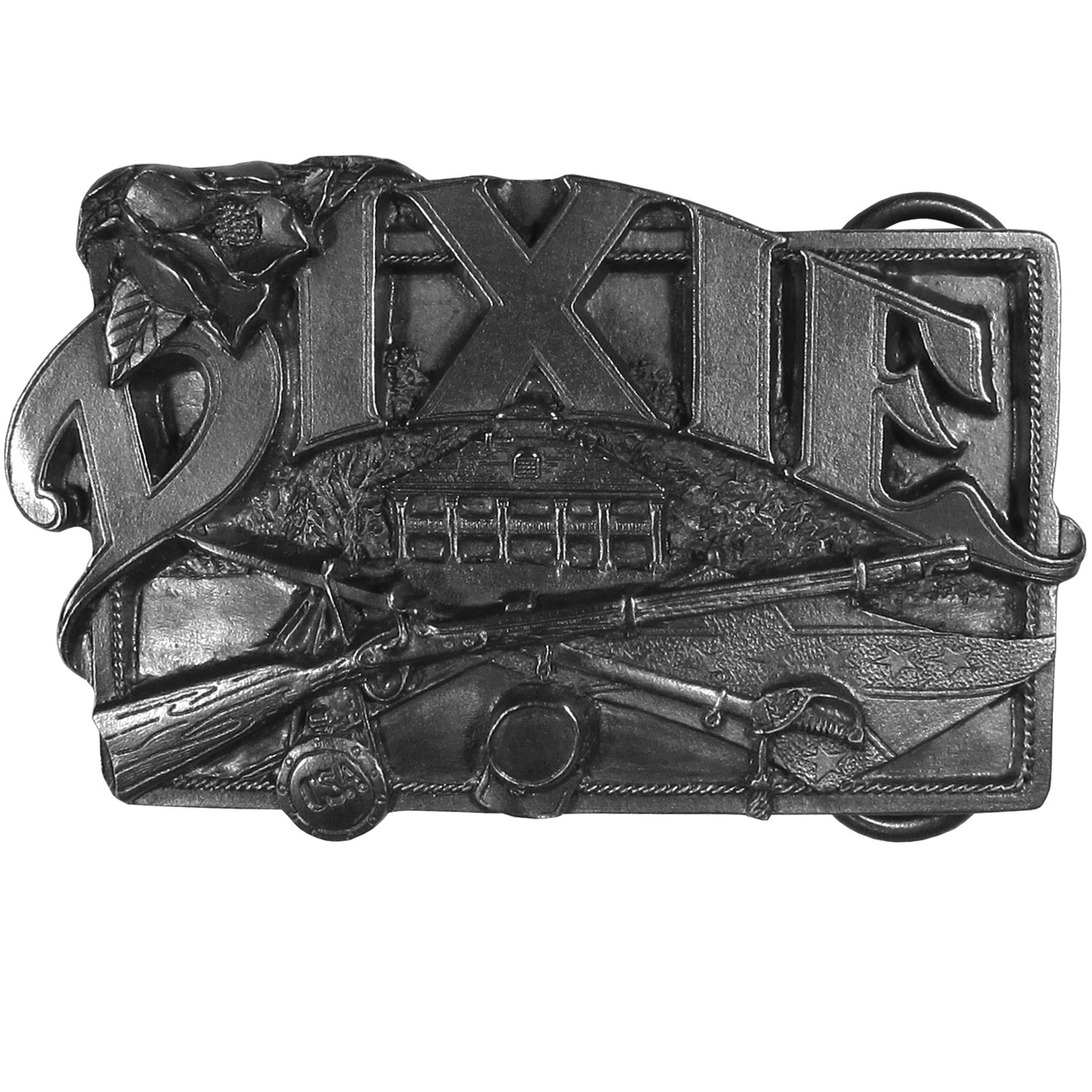 "Dixie Antiqued Belt Buckle - ""This belt buckle celebrates Dixie!  """"Dixie"""" is written in bold on the top with plantation, a rifle, a sword, a water bottle, a hat and a Confederate flag.  On the back are the words, """"Dixie...is a place, a people and a heritage that lives on today in the great Southland of the United States of America - Look Away to Dixieland."""""""