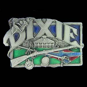 Belt Buckle - Dixie Belt  - This finely sculpted and hand enameled belt buckle contains exceptional 3D detailing. Siskiyou's unique buckle designs often become collector's items and are unequaled with the best craftsmanship.