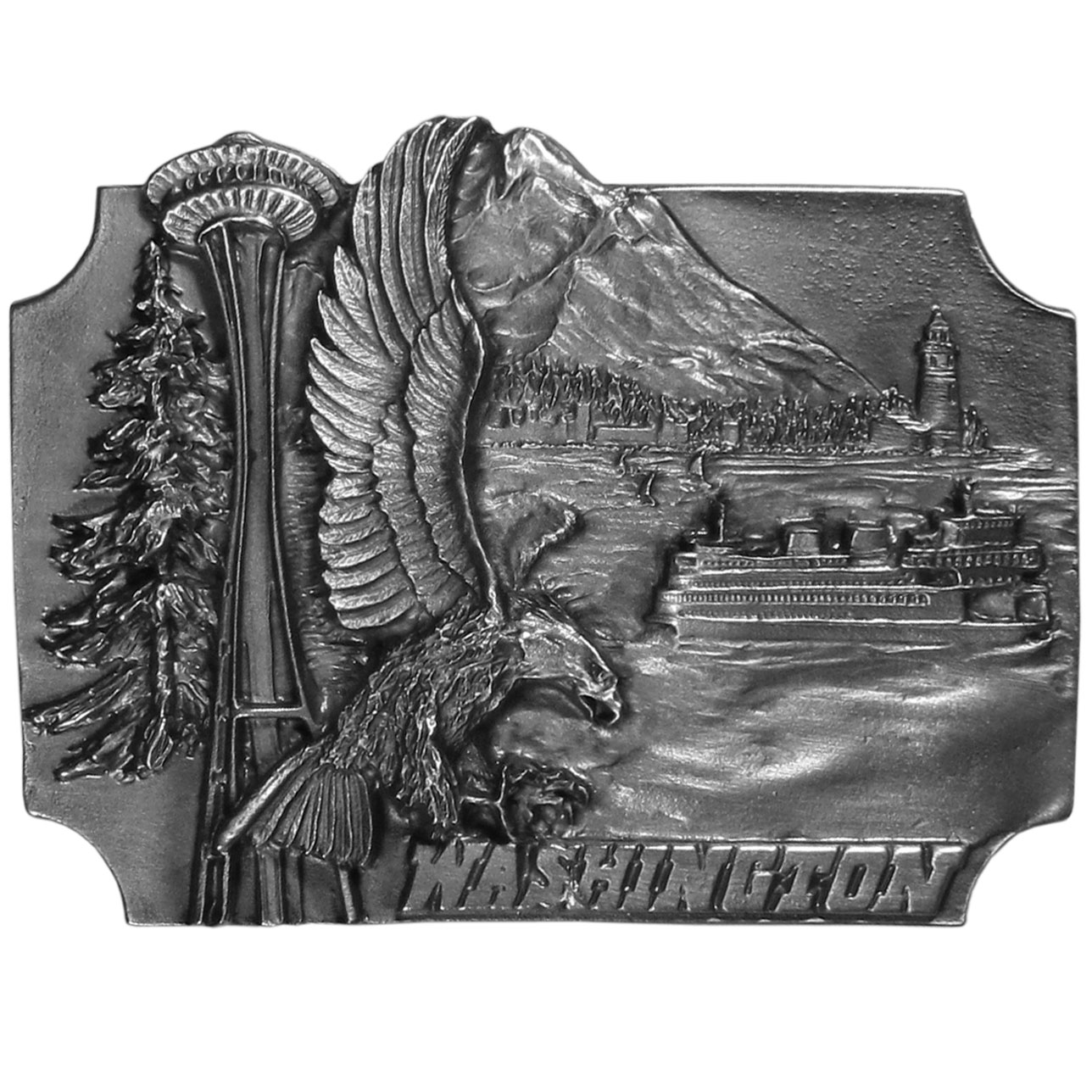 "Washington Antiqued Belt Buckle - ""A buckle to celebrate the state of Washington.  Buckle has images of Mt. Rainier, Seattle, a ferry on the Puget Sound, a bald eagle, the Space Needle, a lighthouse and of course an evergreen tree.  This exquisitely carved buckle is made of fully cast metal with a standard bale that fits up to 2"""" belts.  Siskiyou's unique buckle designs often become collector's items and are unequaled with the best craftsmanship.  Made in the USA."""